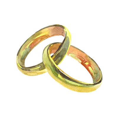 Watercolour Wedding Rings Picture